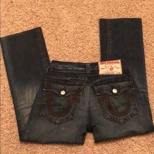 Denim true religion men's jeans with brown detail